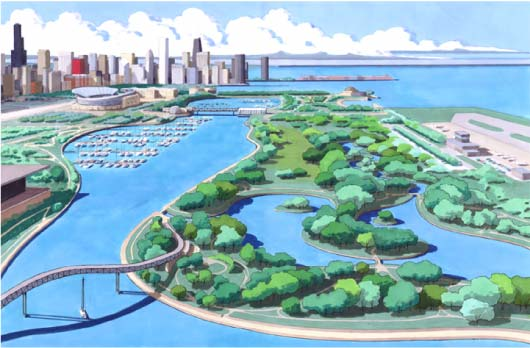 illustration of Northerly Island for Friends of Meigs