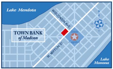 mailer map for Town Bank of Madison Wisconsin