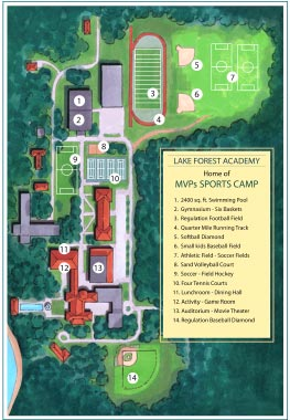 brochure map for MVP's Sports Camp